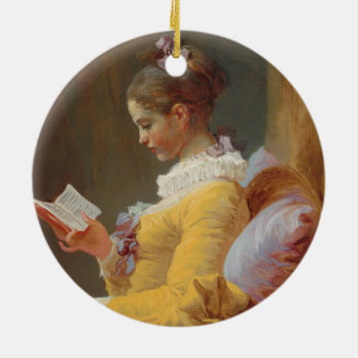 A Young Girl Reading, The Reader by J. Fragonard Round Ceramic Ornament