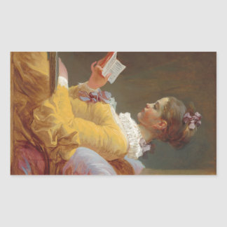 A Young Girl Reading, The Reader by J. Fragonard Sticker