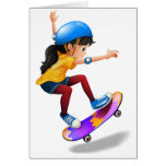 A young girl skateboarding greeting card