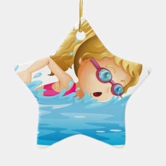 A young girl swimming ceramic ornament