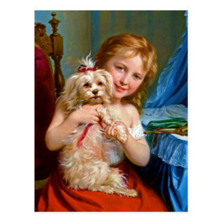 A Young Girl With A Bichon Frise (dog) ~ Postcard