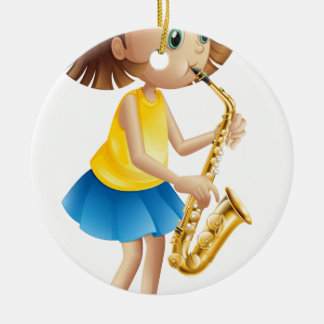 A young lady playing with the saxophone round ceramic ornament