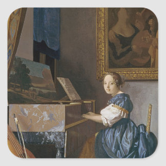 A Young Lady Seated at a Virginal, c.1670 Square Sticker
