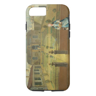 A Young Lady with her Dog in front of a Garden (se iPhone 7 Case