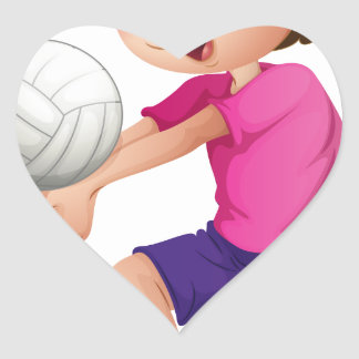 A young man playing volleyball heart sticker