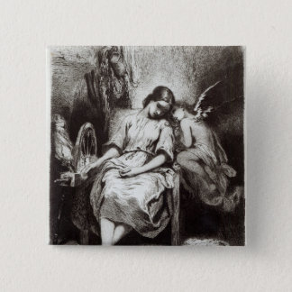 A Young Woman Dozing with an Angel 2 Inch Square Button