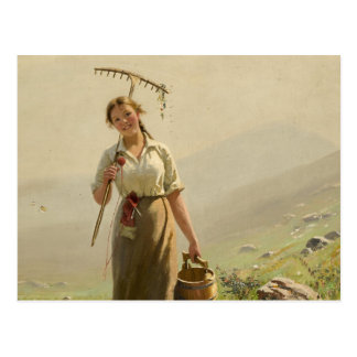 A young woman in the meadow by Hans Dahl Postcard