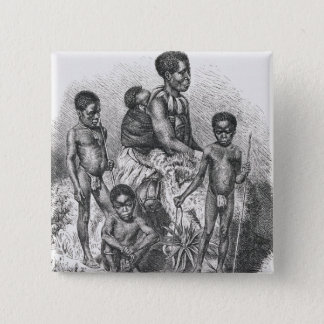A Zulu family from The History of Mankind 2 Inch Square Button