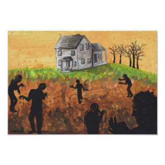 aA Bad Approach Zombie + Farm House Poster