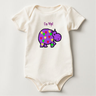 AA- Colorful Hippo Baby Outfit Baby Bodysuit