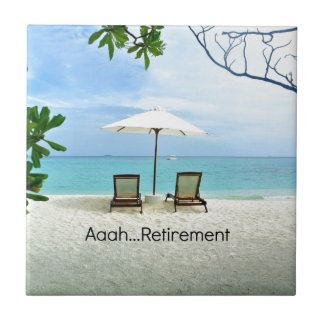 Aaah...retirement, relaxing beach scene tile