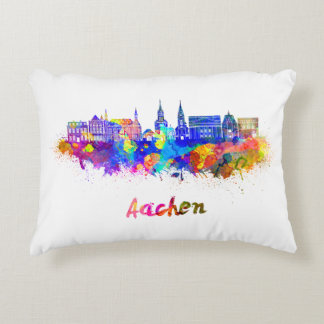 Aachen skyline in watercolor decorative pillow