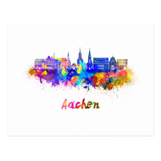 Aachen skyline in watercolor postcard