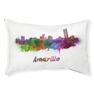 AAmarillo skyline in watercolor Pet Bed