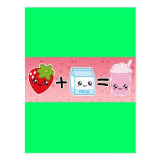 aardbei +melk = milkshake postcard