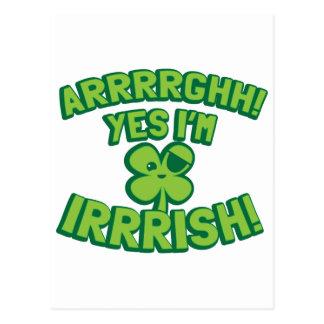 AARGHH YES I'm IRISH with a pirate SHAMROCK Postcard