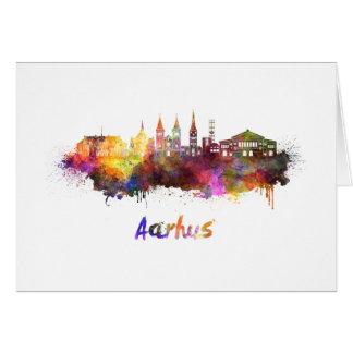 Aarhus skyline in watercolor card