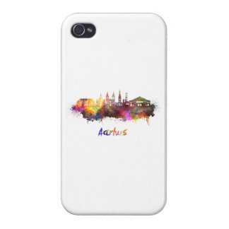 Aarhus skyline in watercolor covers for iPhone 4