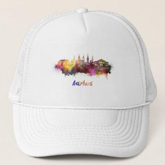 Aarhus skyline in watercolor trucker hat