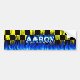 Aaron blue fire and flames bumper sticker design. car bumper sticker