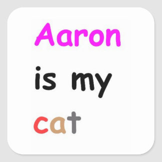 Aaron is my cat square sticker