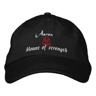 Aaron Name With Hebrew Meaning Black Embroidered Hat