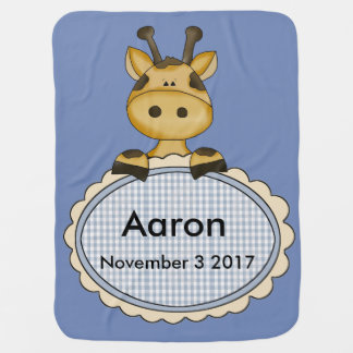 Aaron's Personalized Giraffe Baby Blanket