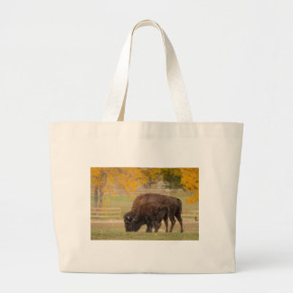 AAutumn Buffaloes Cow and Calf Large Tote Bag