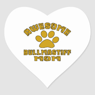 aAWESOME BULLMASTIFF MOM Heart Sticker