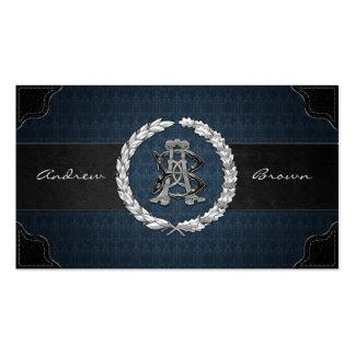 AB BA Silver Monogram Business Cards