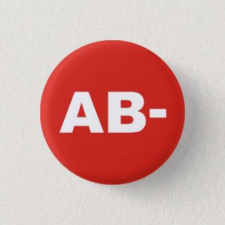 AB- Blood Type / Group Rh (Rhesus) Negative Badge 1 Inch Round Button