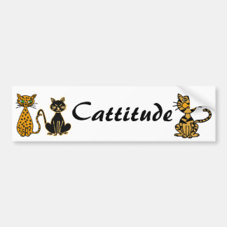 AB- Funny Cats Cattitude Bumper Sticker