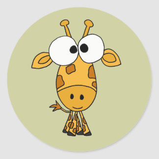 AB- Funny Giraffe Cartoon Classic Round Sticker