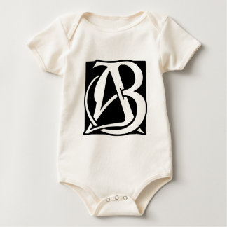 AB Monogram with Black Background Baby Bodysuit