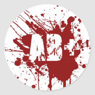 AB positive Blood Type Donation Vampire Zombie Round Sticker