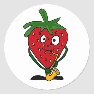 AB- Strawberry Playing Saxophone Classic Round Sticker