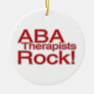 ABA Autism Therapists Teacher Round Ceramic Ornament