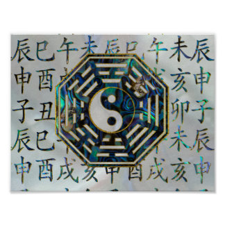 Abalone and Gold Bagua  feng shui hieroglyphs Poster