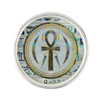 Abalone Shell Egyptian Ankh Cross symbol Lapel Pin