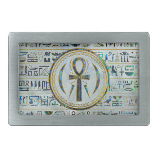 Abalone Shell Egyptian Ankh Cross symbol Rectangular Belt Buckle