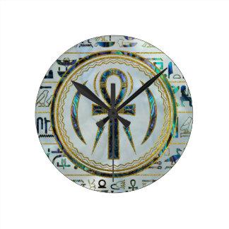 Abalone Shell Egyptian Ankh Cross symbol Round Clock