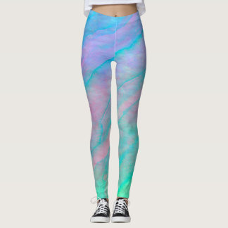 Abalone Shell Watercolor Mother of Pearl Stone Leggings