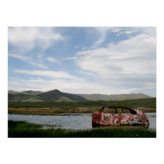 Abandon Car Scenic Photo Poster