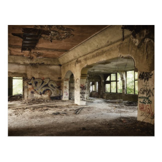 Abandoned Building Left to Decay Postcard