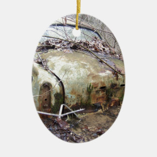 Abandoned Car Ceramic Oval Ornament