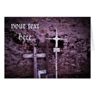 Abandoned crosses purple tint blank card