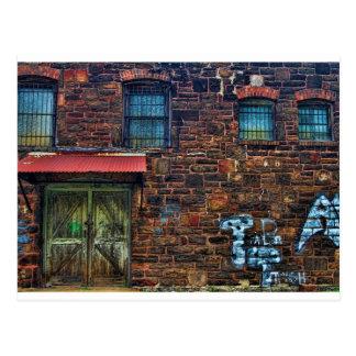 Abandoned Graffiti Brick Building Barred Windows Postcard