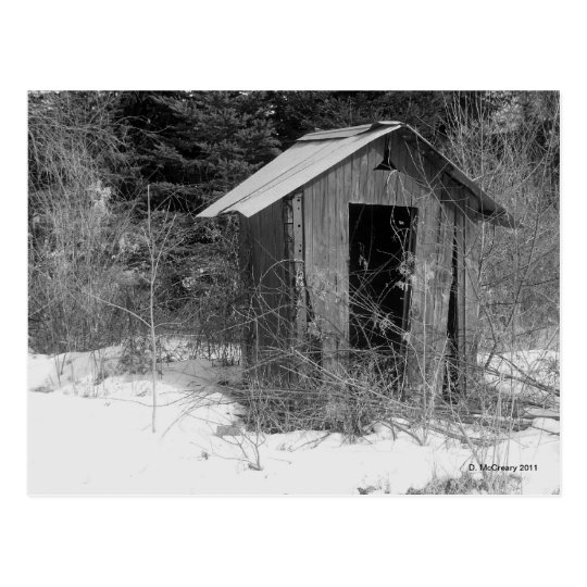 Abandoned Outhouse (B&W) Postcard
