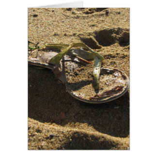Abandoned sandal at Sandy Point Greeting Card