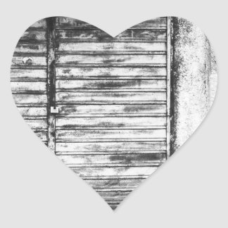 Abandoned shop forgotten bw heart sticker